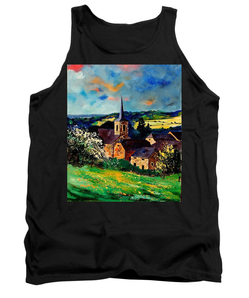 Spring Tank Top featuring the painting Spring In Gendron by Pol Ledent