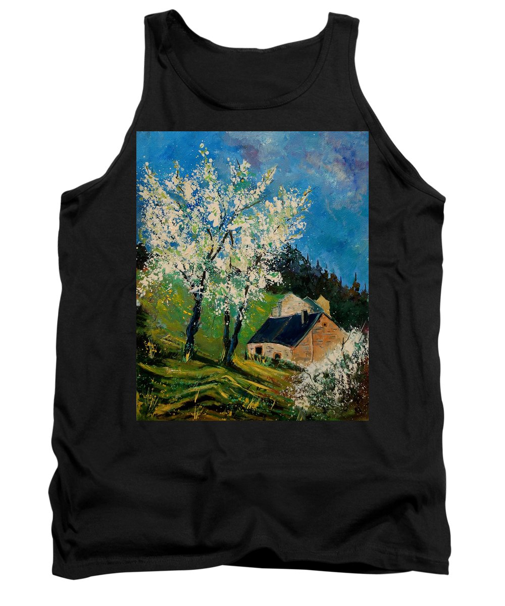 Spring Tank Top featuring the painting Spring In Hierges by Pol Ledent