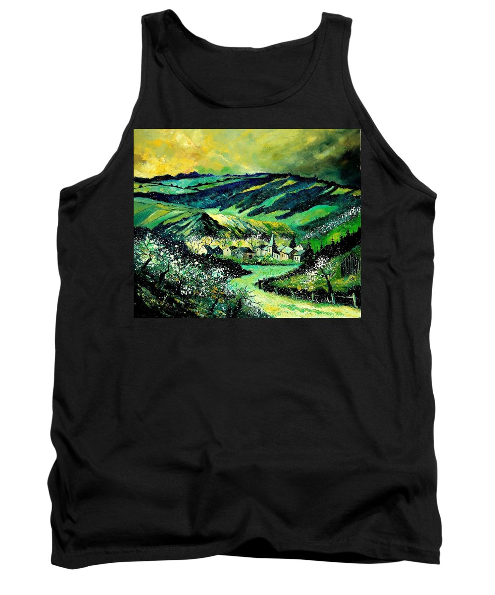 Landscape Tank Top featuring the painting Spring In Tha Ardennes by Pol Ledent