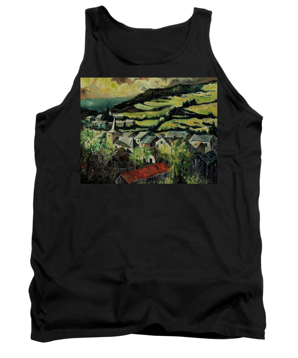 Spring Tank Top featuring the painting Spring In Vresse Ardennes Belgium by Pol Ledent