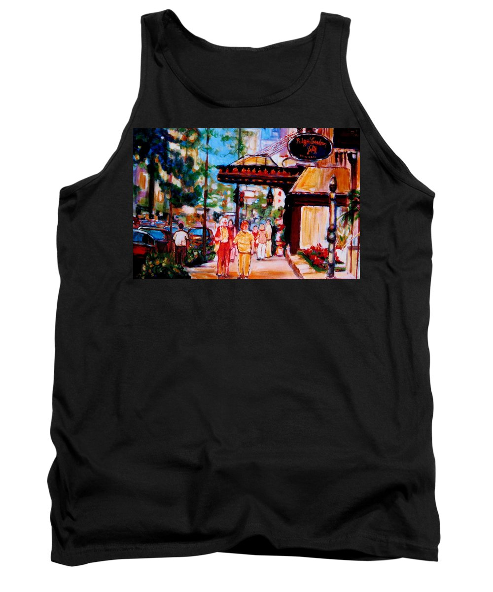 Montreal Streetscenes Tank Top featuring the painting Springtime At The Ritz by Carole Spandau