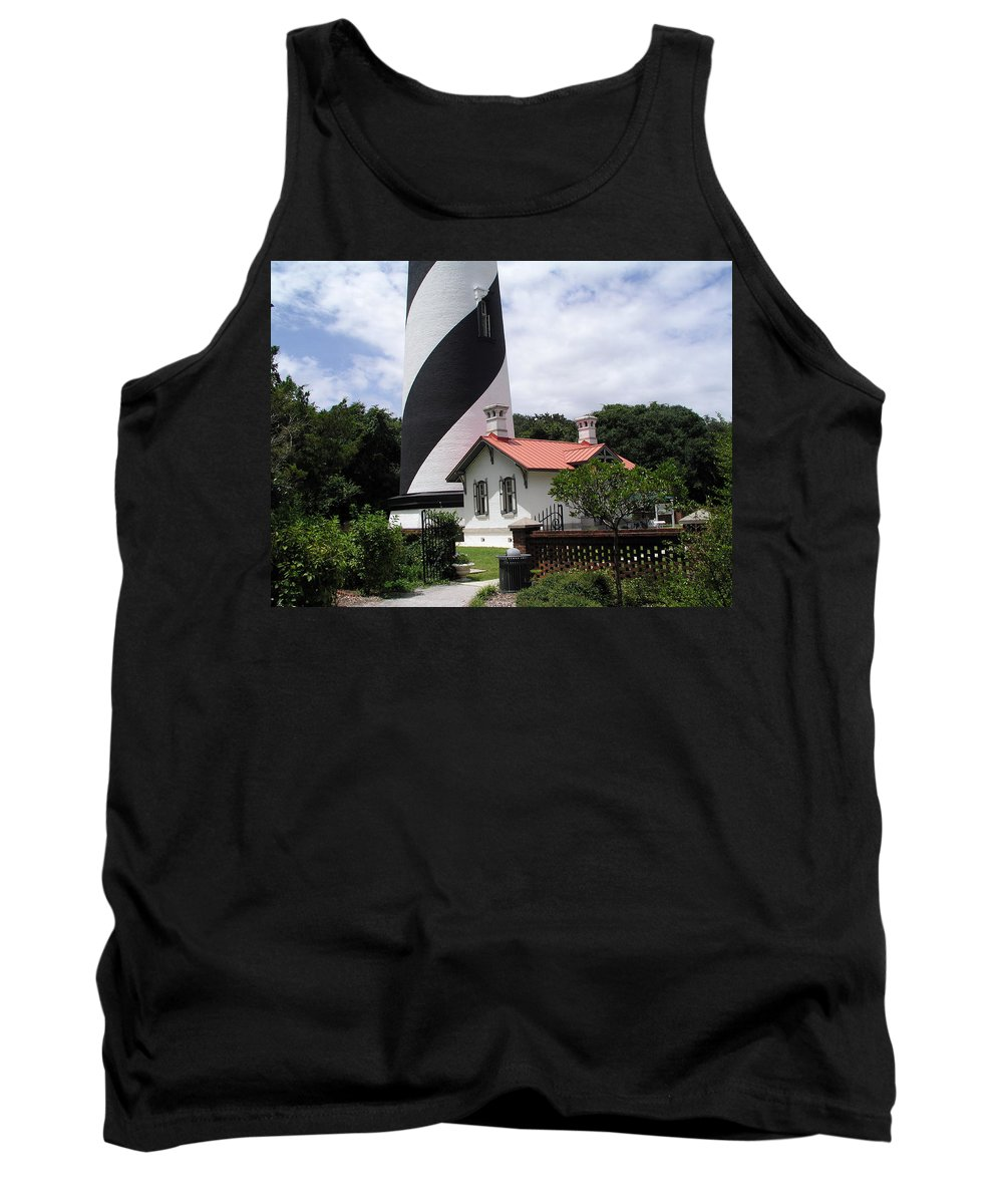Cottage; Residence; Lighthouse; Light; House; Keeper; St. Augustine; Florida; Coast; Shine; Fog; Sto Tank Top featuring the photograph St. Augustine Light On The East Coast Of Florida by Allan Hughes