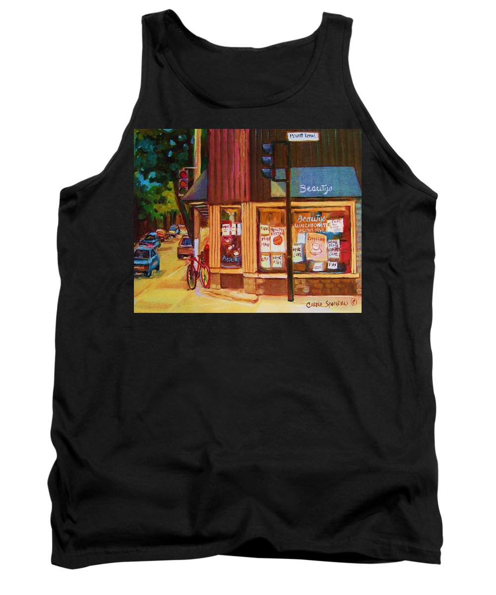 Beautys Tank Top featuring the painting St Urbain And Mount Royal by Carole Spandau