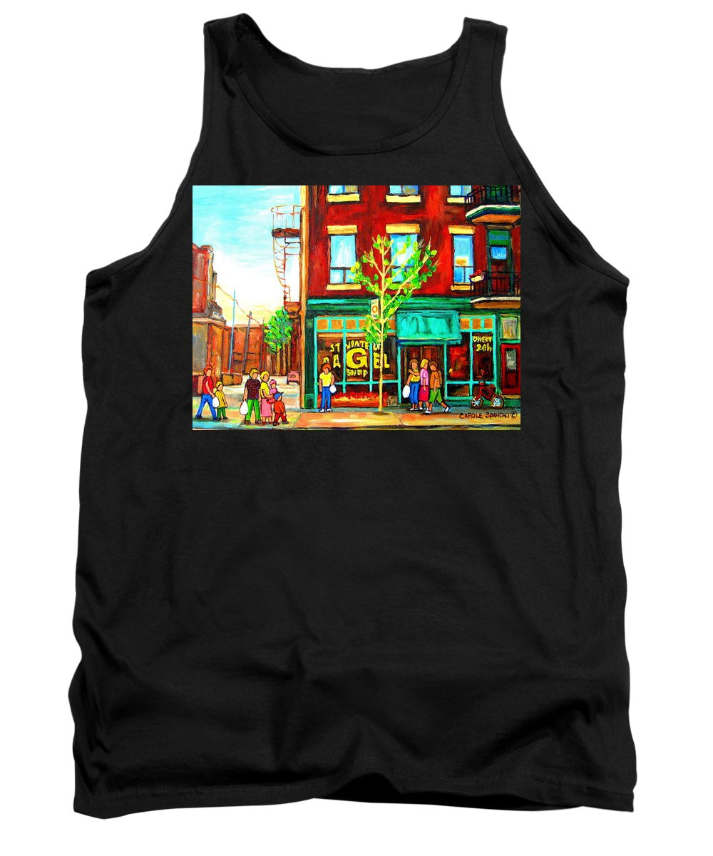 Cityscapes Tank Top featuring the painting St. Viateur Bagel With Shoppers by Carole Spandau