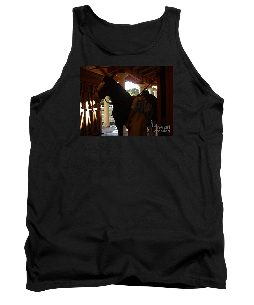Horses Tank Top featuring the photograph Stable Groom - 2 by Linda Shafer