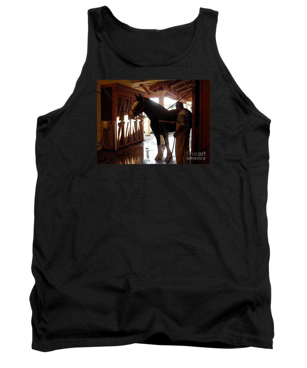 Horse Tank Top featuring the photograph Stable Groom - 1 by Linda Shafer