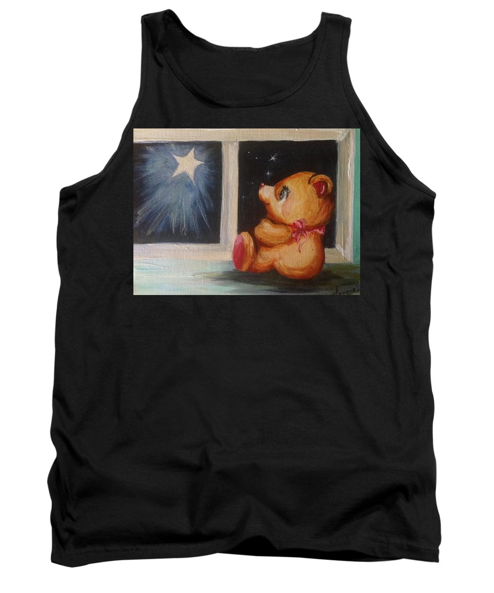 Teddy Bear Tank Top featuring the painting Star Light Bear by Karen Ferrand Carroll