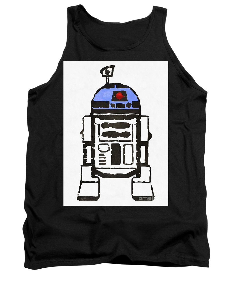 Star Wars Tank Top featuring the painting Star Wars R2d2 Droid Robot by Edward Fielding