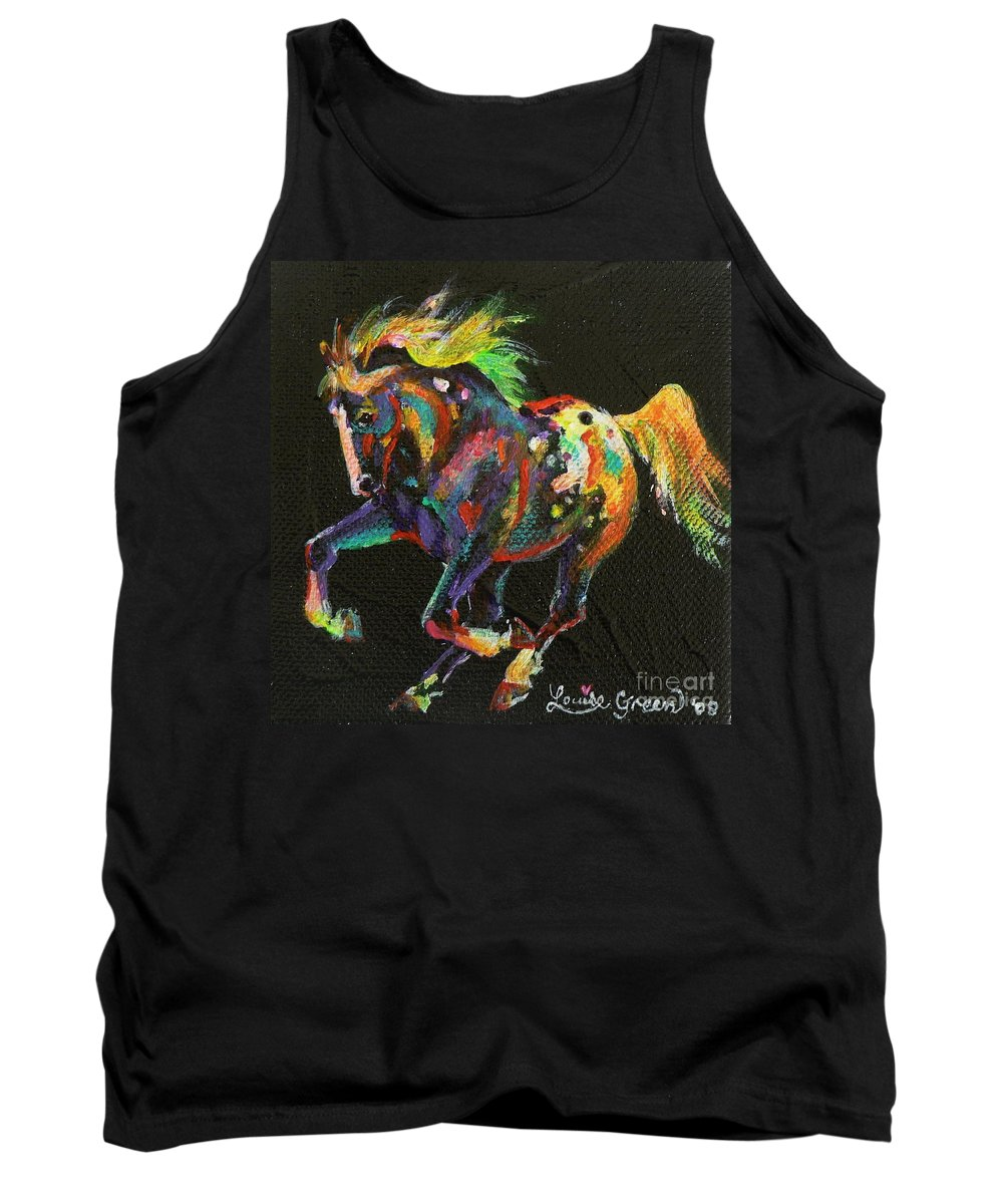 Starburst Pony Tank Top featuring the painting Starburst Pony by Louise Green