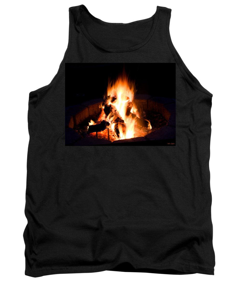 Fire Tank Top featuring the digital art Staring Into The Fire by Mia DeBolt