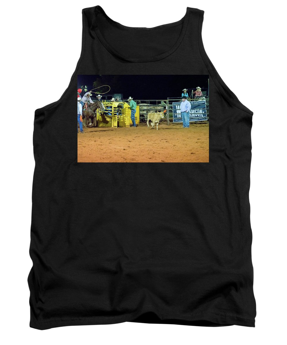 Rodeo Tank Top featuring the photograph Steer Roping by Glenn Matthews