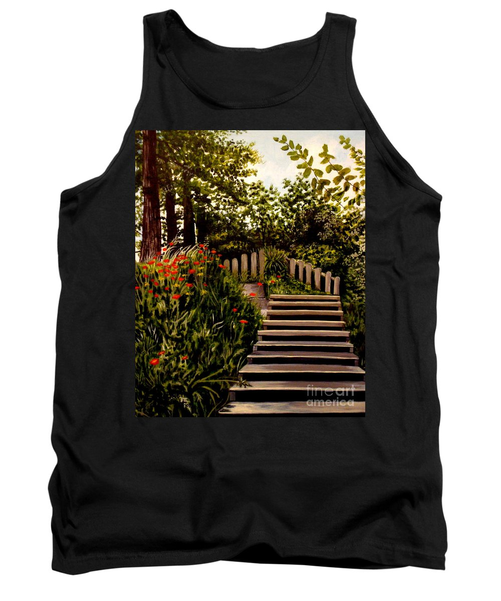 Landscape Tank Top featuring the painting Steps Of Monte Rio by Elizabeth Robinette Tyndall