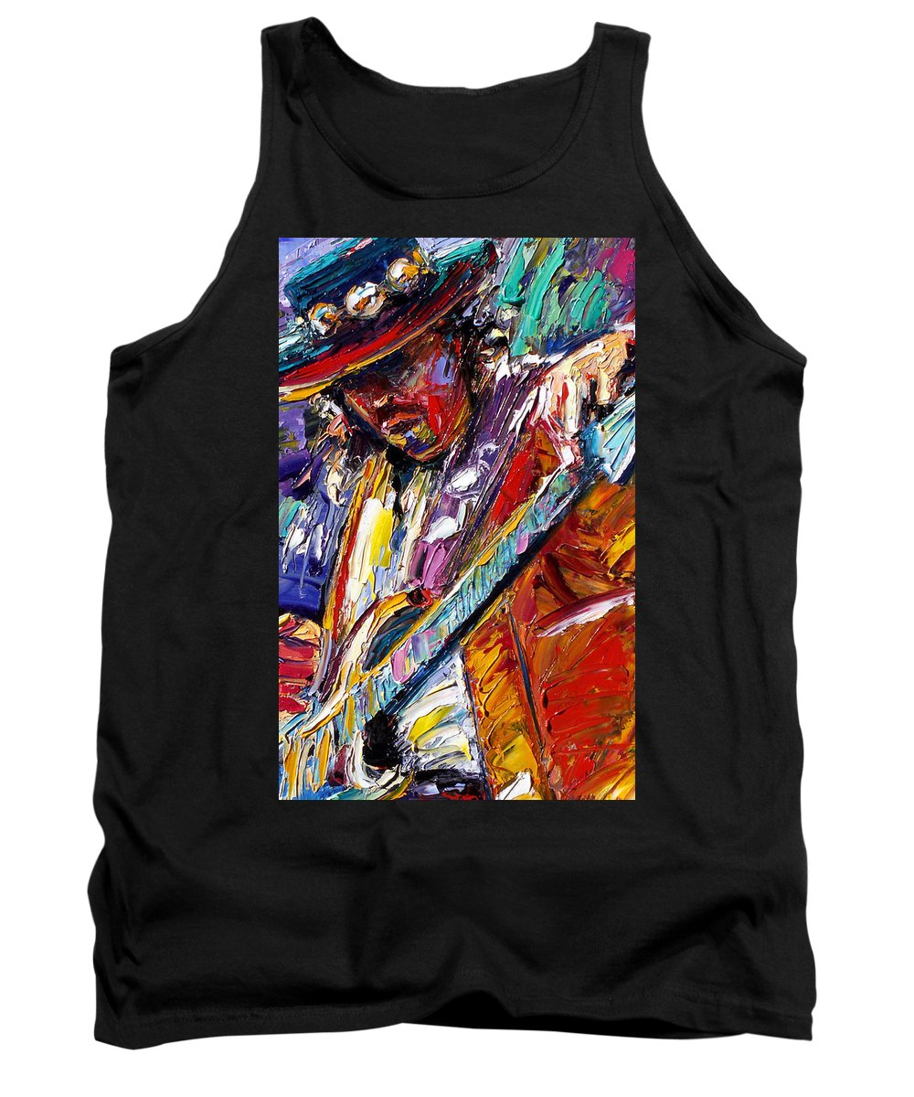 Rock Tank Top featuring the painting Stevie Ray Vaughan Number One by Debra Hurd