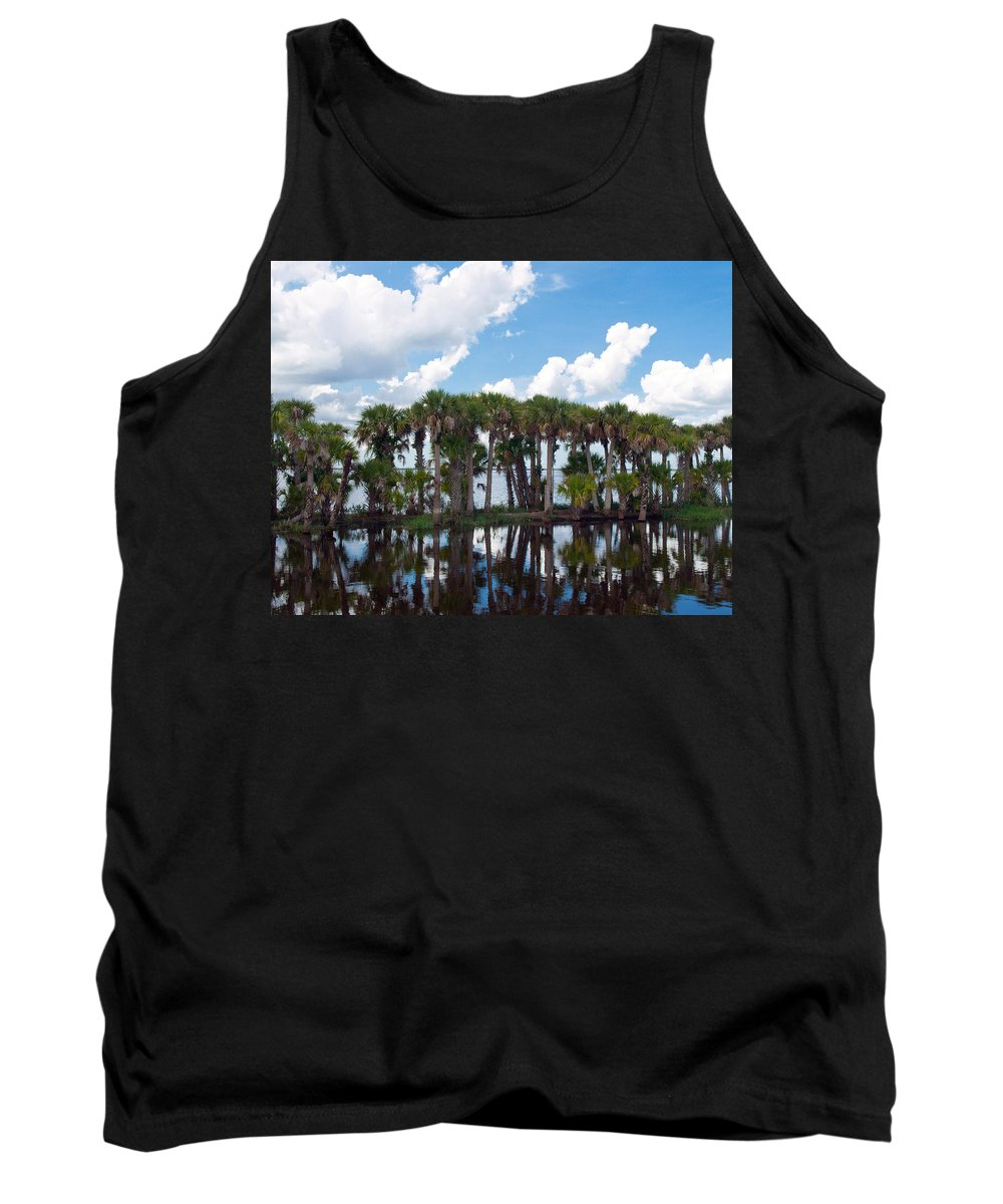 Florida; Water; Canal; Stick; Marsh; Drowned; Trees; Drown; Fellsmere; Sebastian; River; Indian; Clo Tank Top featuring the photograph Stick Marsh In Fellsmere Florida by Allan Hughes
