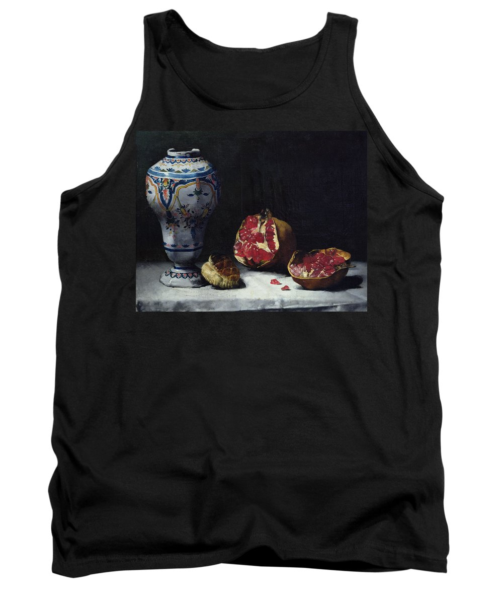 Still-life Tank Top featuring the painting Still Life With A Pomegranate by Auguste Theodule Ribot