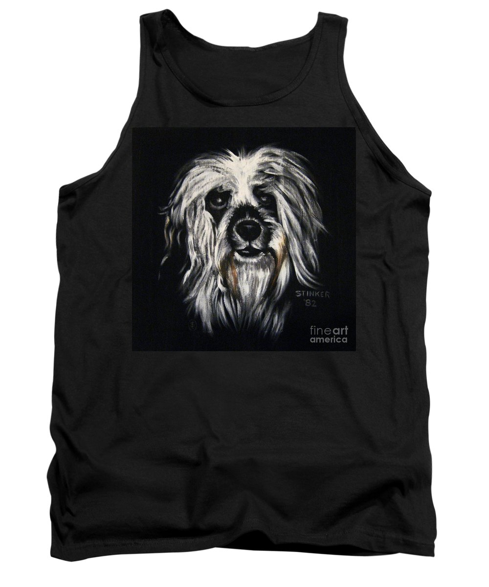 Dog Tank Top featuring the painting Stinker by Sherry Oliver