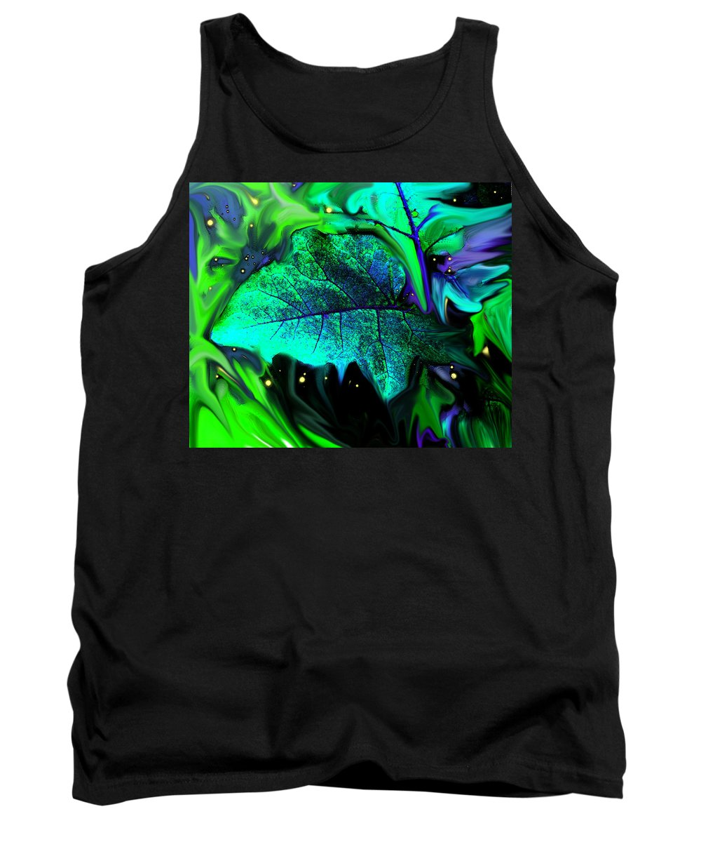 Abstract Tank Top featuring the digital art Strange Green World by Ian MacDonald