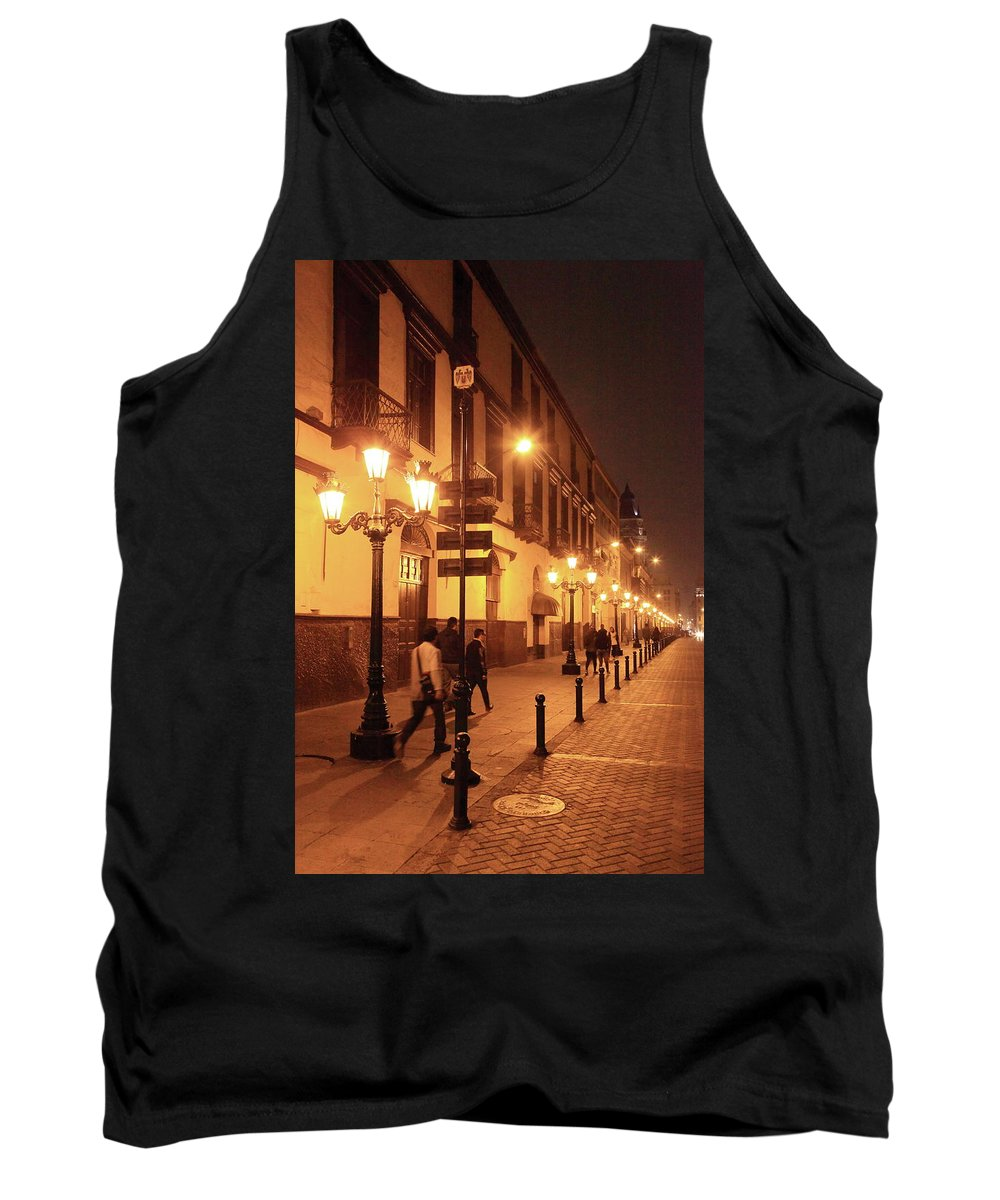 Street Tank Top featuring the photograph Street At Night, Lima Peru by Roupen Baker