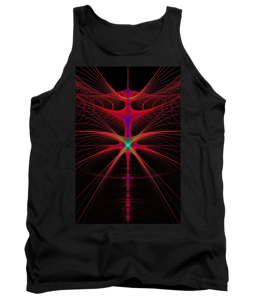 Abstract Tank Top featuring the digital art String Alien by Frederic Durville