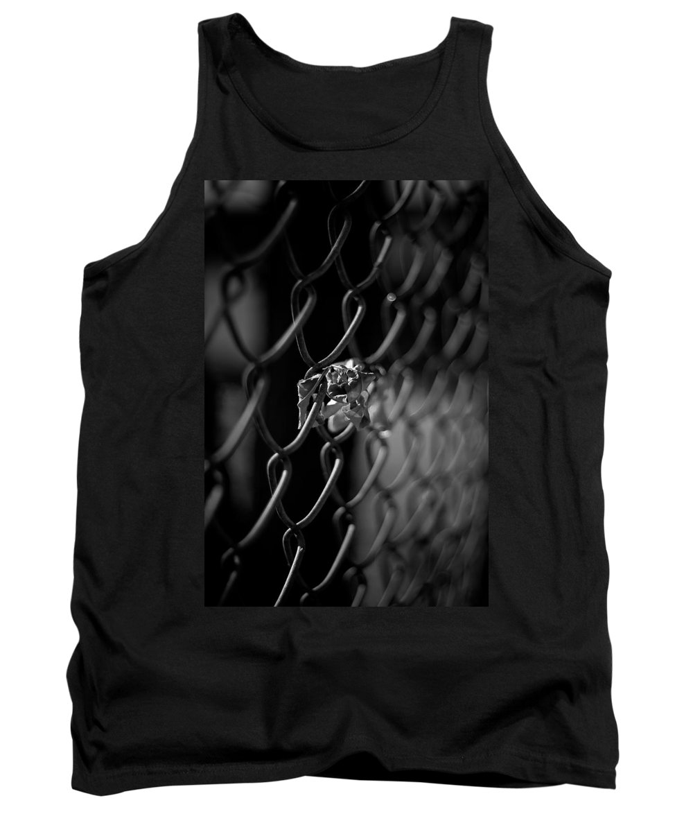 Black And White Photograph Tank Top featuring the photograph Stuck In A Fence by Mike Oistad