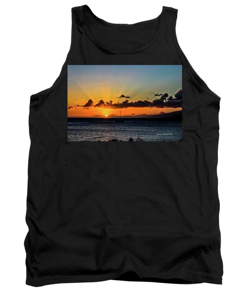 Sailboat Photographs Tank Top featuring the photograph Stunning Sunset by Joann Copeland-Paul