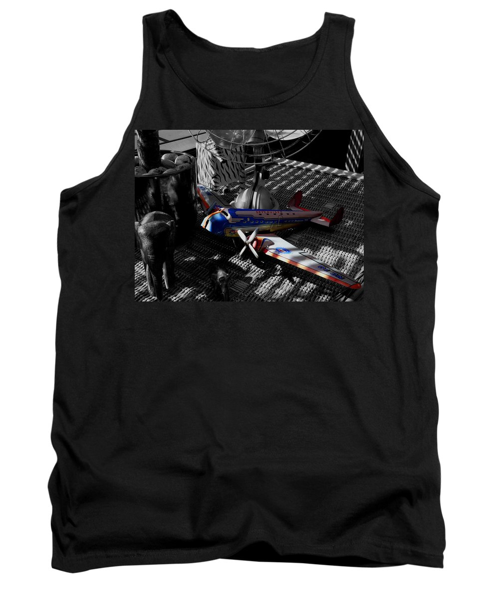 Still Life Tank Top featuring the photograph Suburban Safari The Zebra Strikes Back by Charles Stuart
