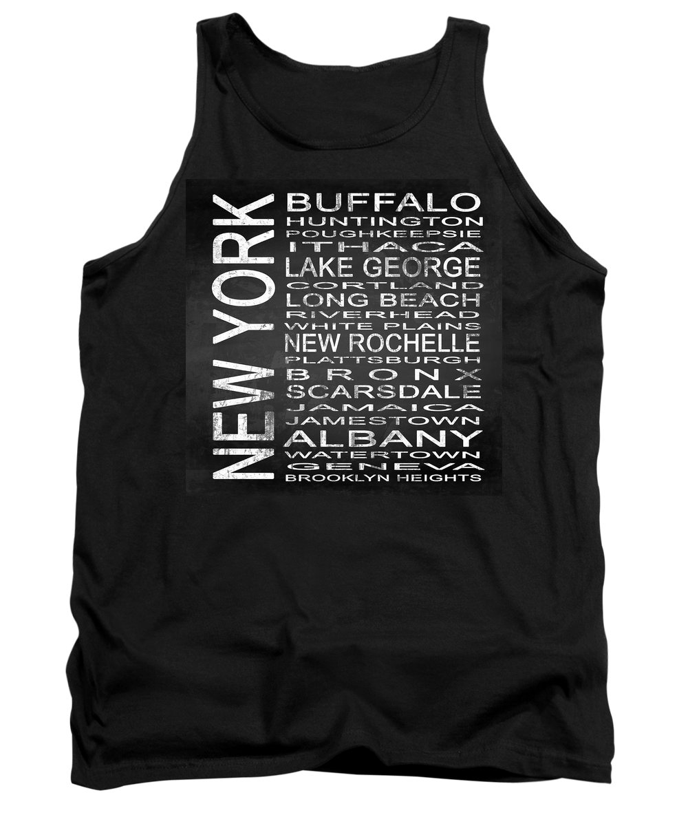 Subway Sign Tank Top featuring the digital art Subway New York State Square by Melissa Smith