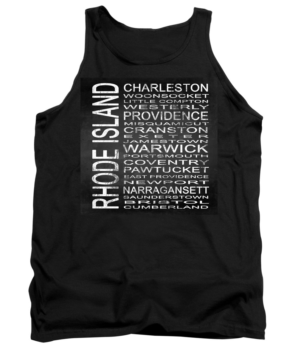 Subway Sign Tank Top featuring the digital art Subway Rhode Island State Square by Melissa Smith