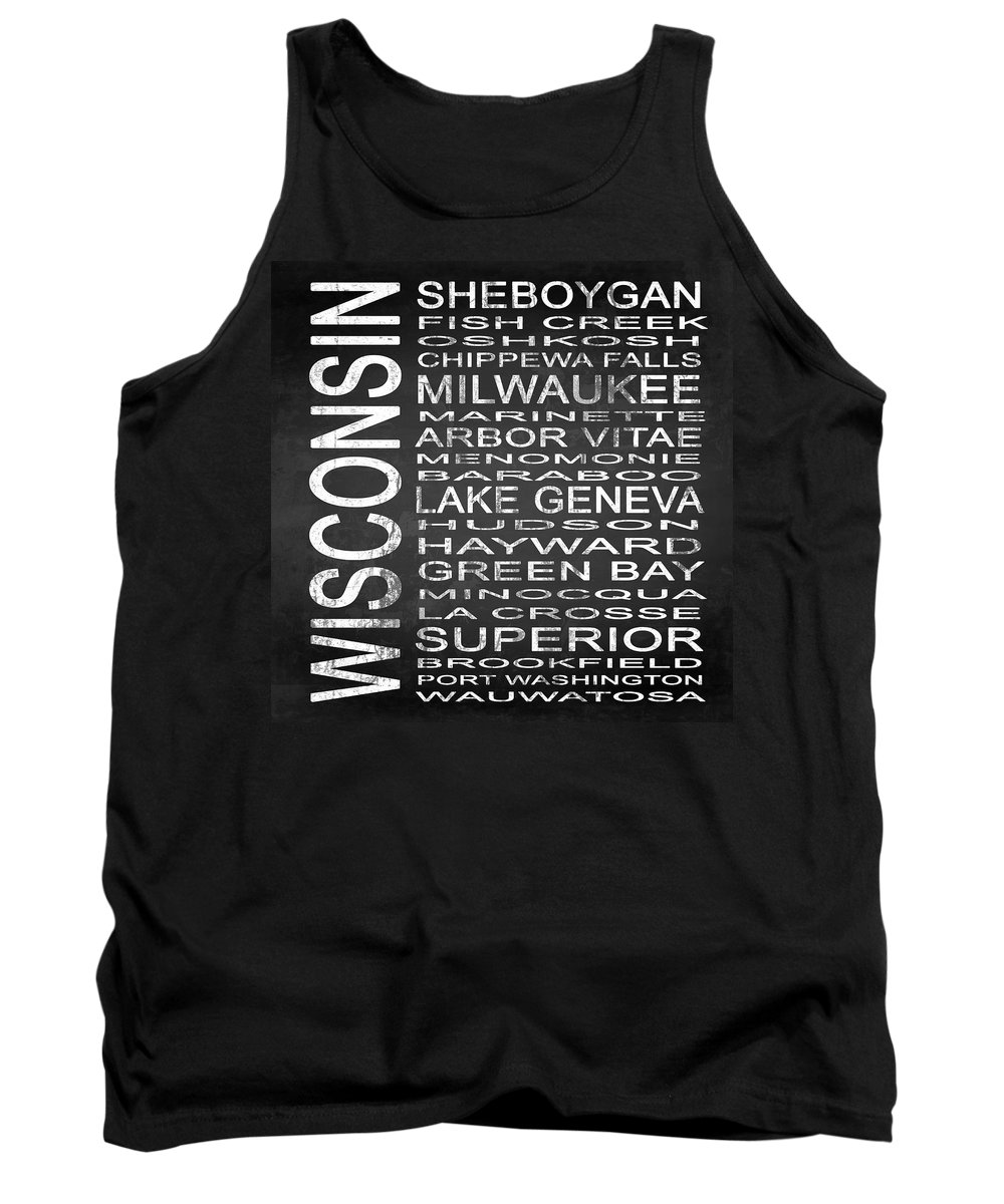 Subway Sign Tank Top featuring the digital art Subway Wisconsin State 2 Square by Melissa Smith