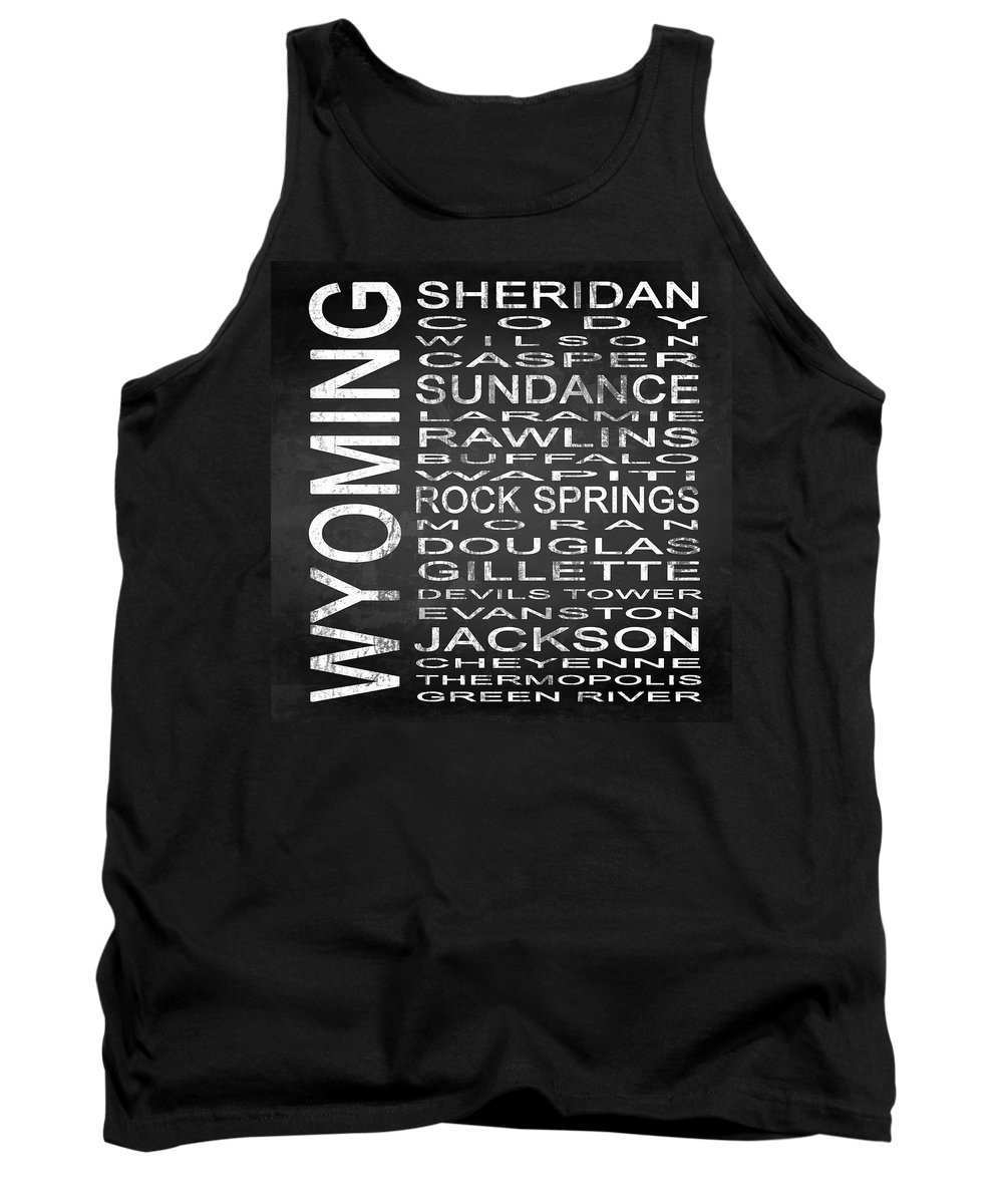 Subway Sign Tank Top featuring the digital art Subway Wyoming State Square by Melissa Smith