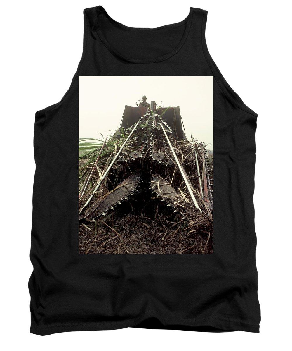 Sugar Cane Tank Top featuring the photograph Sugar Cane Cutter by Herman Robert