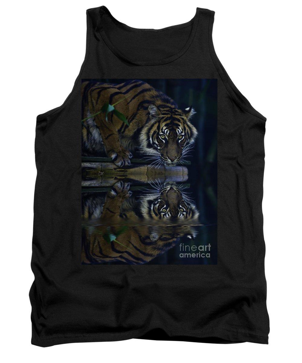 Sumatran Tiger Tank Top featuring the photograph Sumatran Tiger Reflection by Avalon Fine Art Photography
