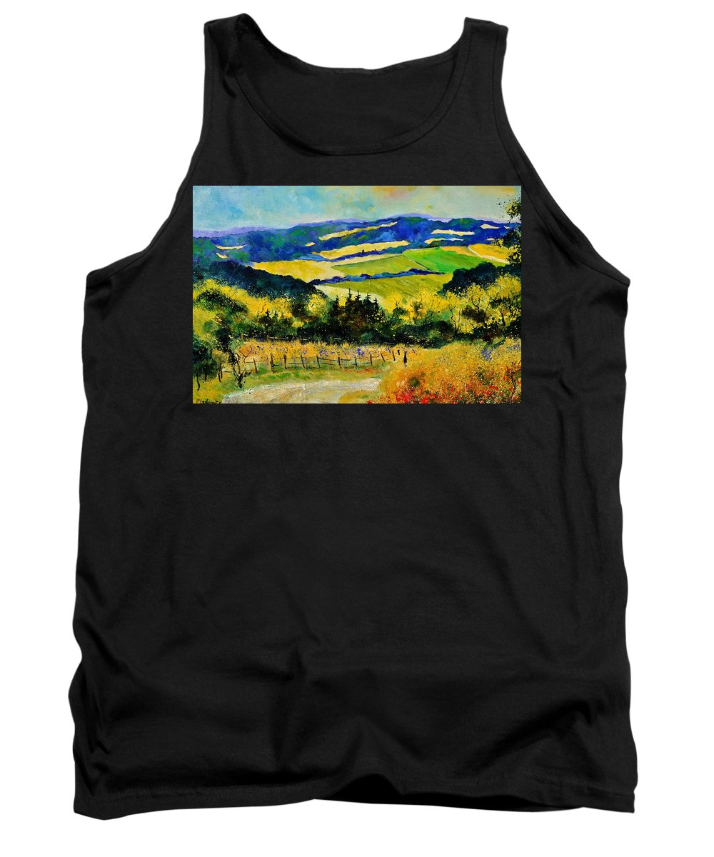 Landscape Tank Top featuring the painting Summer Landscape by Pol Ledent