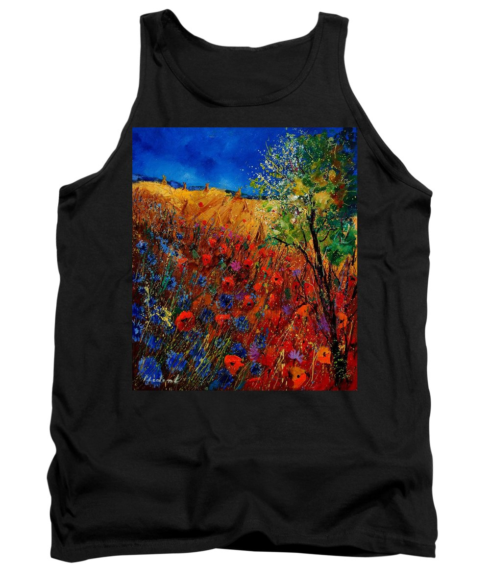 Flowers Tank Top featuring the painting Summer Landscape With Poppies by Pol Ledent