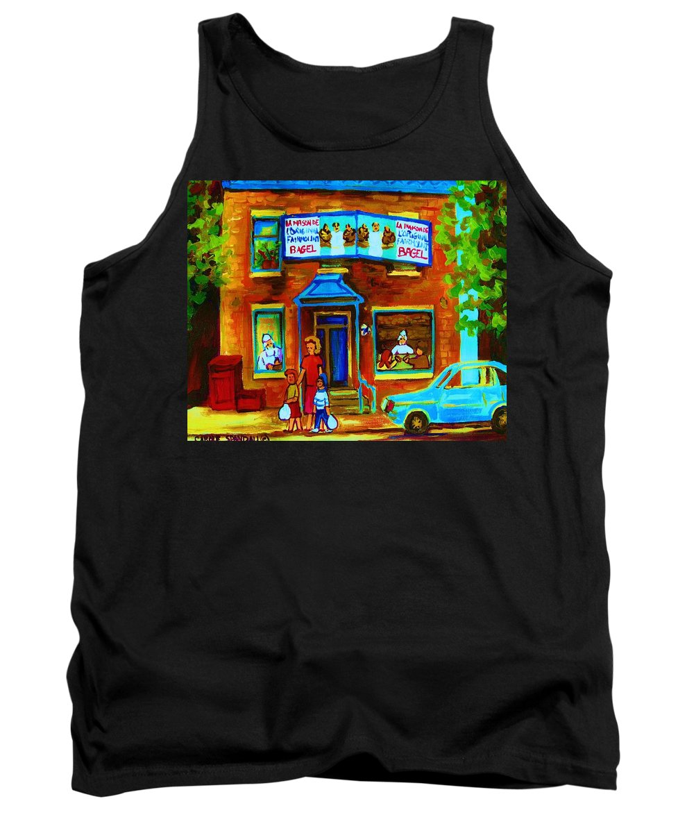 Mom And Tots Tank Top featuring the painting Summers With Mom At Fairmount by Carole Spandau