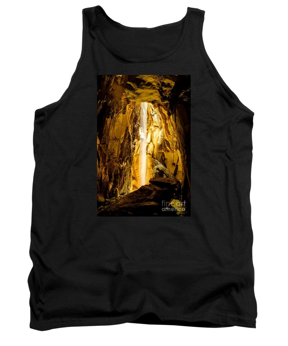 Hdr Tank Top featuring the photograph Sun Beam In Cave. by Chatchai Somwat