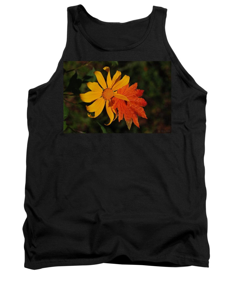 Pop Art Tank Top featuring the photograph Sun Flower And Leaf by Rob Hans