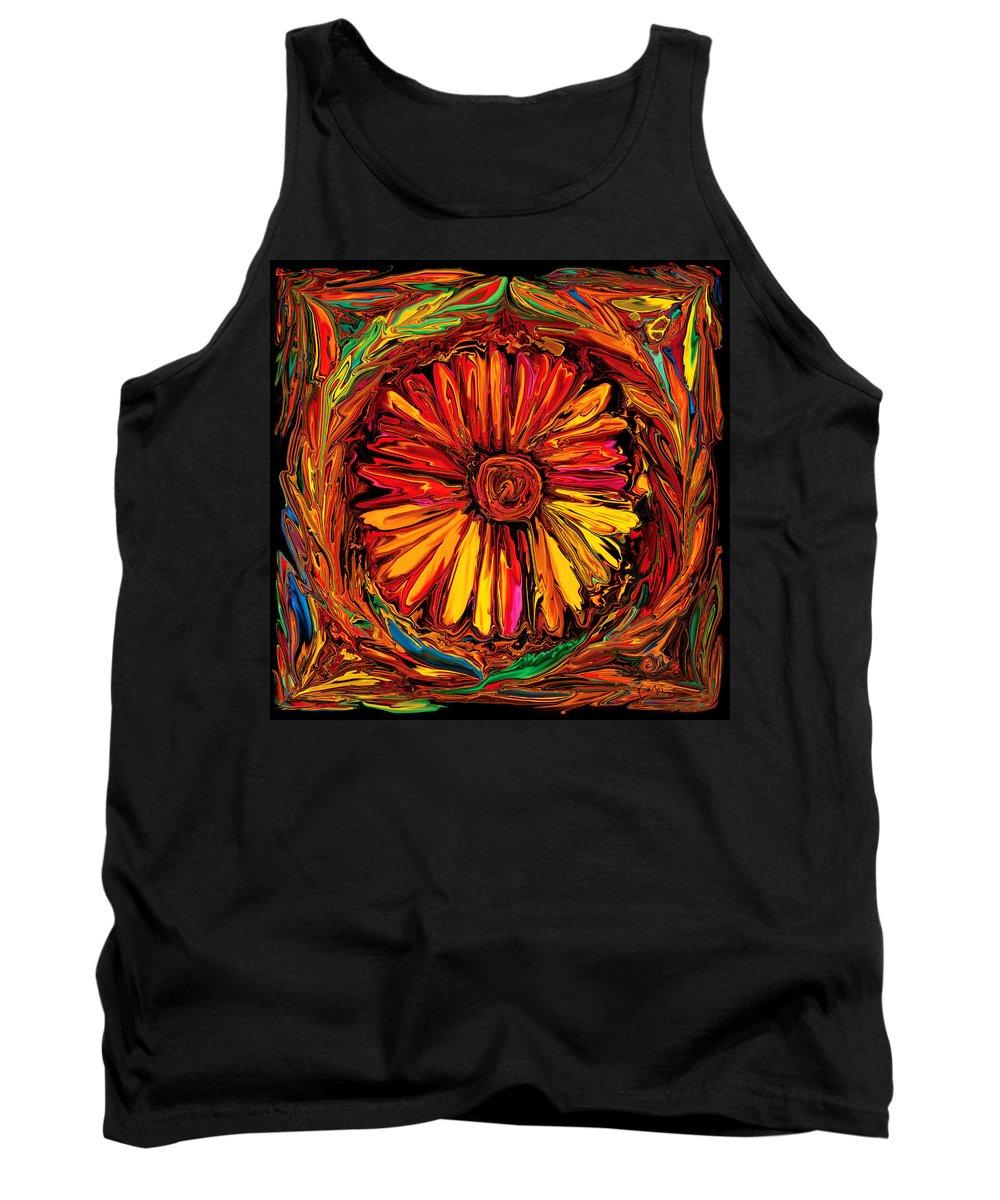 Art Tank Top featuring the digital art Sunflower Emblem by Rabi Khan