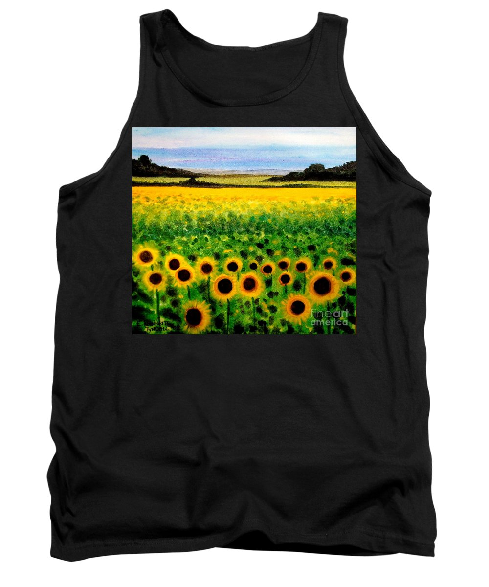 Landscape Tank Top featuring the painting Sunflower Field by Elizabeth Robinette Tyndall