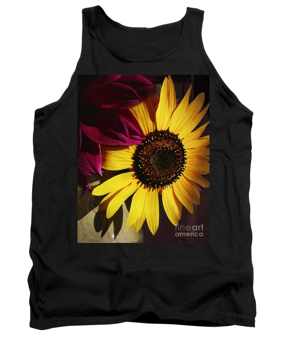 Flower Tank Top featuring the photograph Sunflower With Dahlia by Ed A Gage