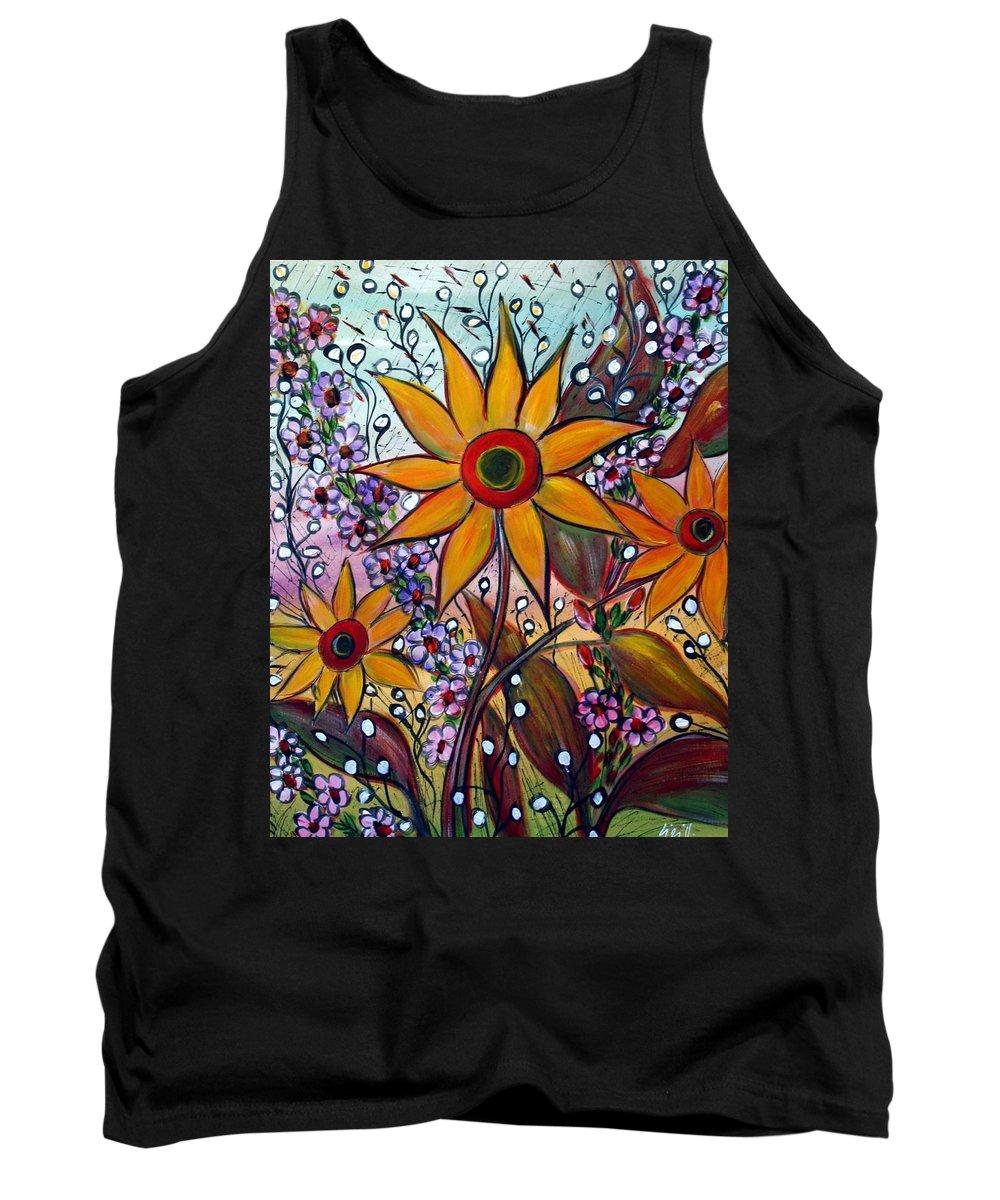 Flowers Tank Top featuring the painting Sunflowers by Luiza Vizoli