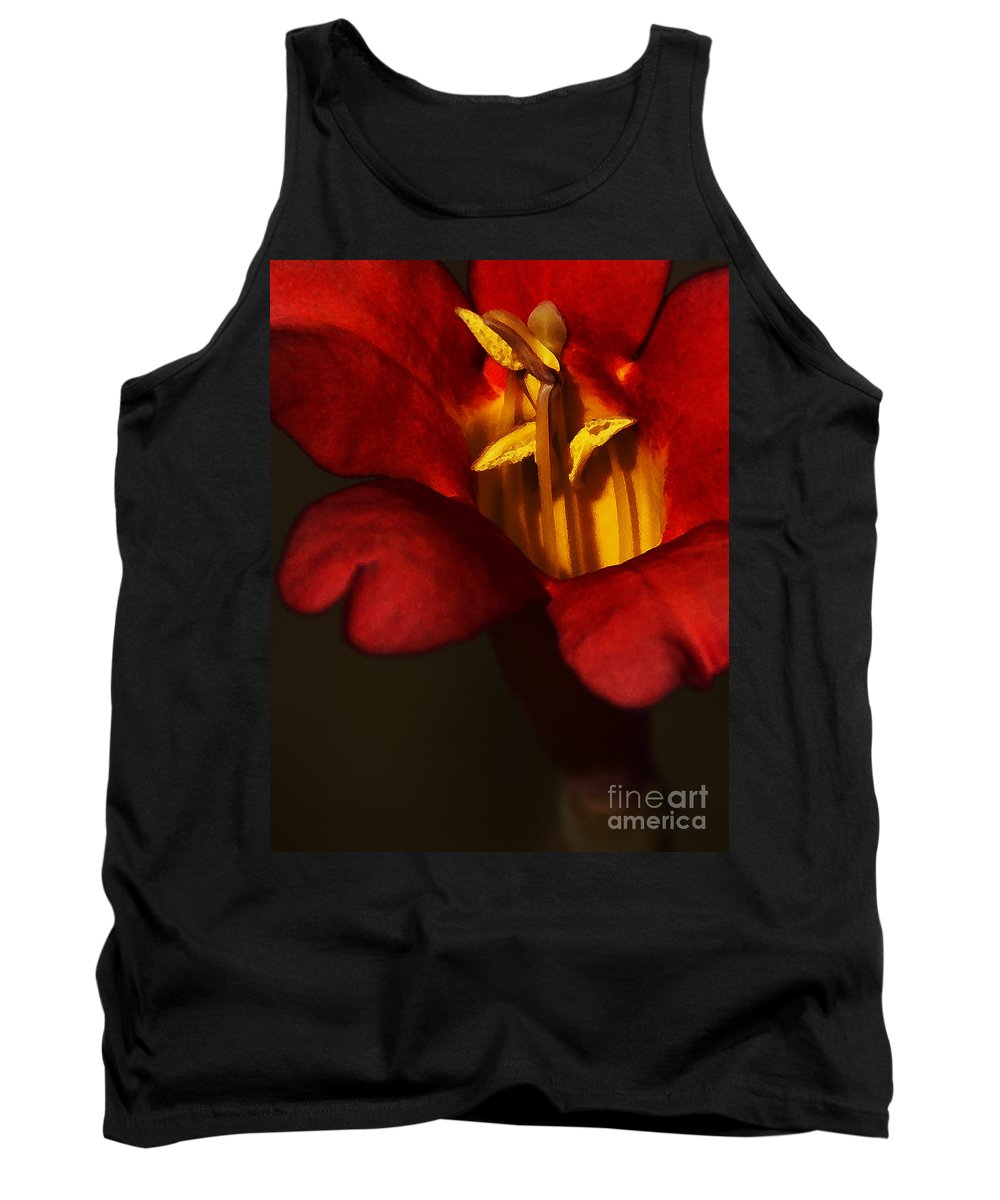 Flower Tank Top featuring the photograph Sunlit Attraction by Linda Shafer