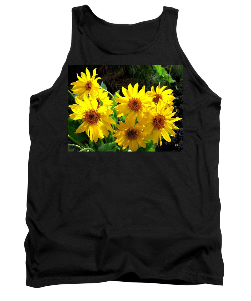 Wildflowers Tank Top featuring the photograph Sunlit Wild Sunflowers by Will Borden