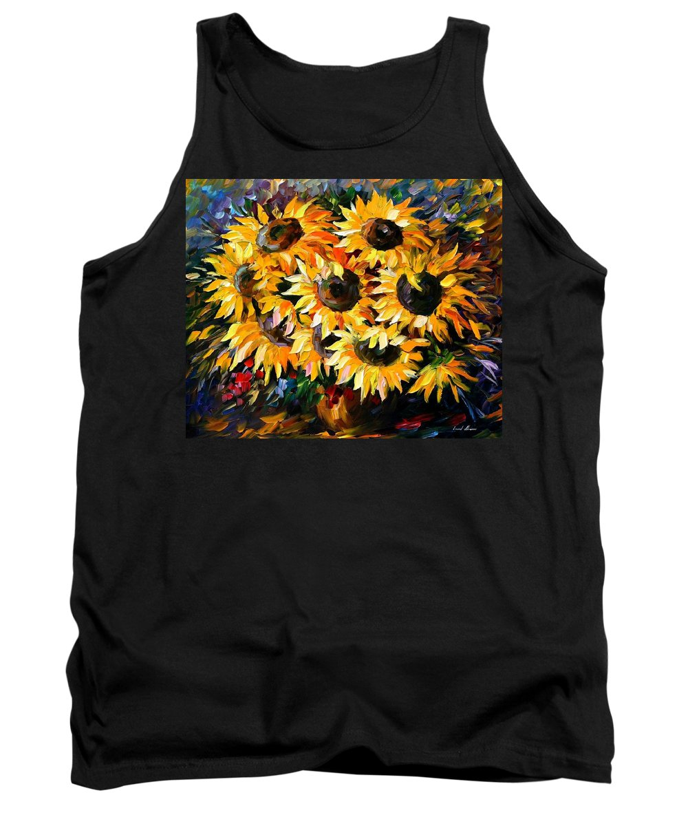 Floral Tank Top featuring the painting Sunny Bouquet by Leonid Afremov