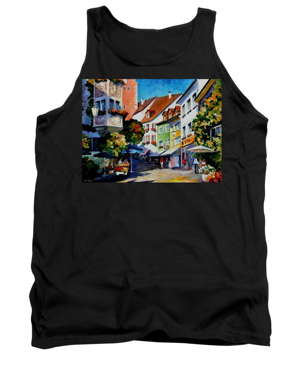 Afremov Tank Top featuring the painting Sunny Meersburg - Germany by Leonid Afremov