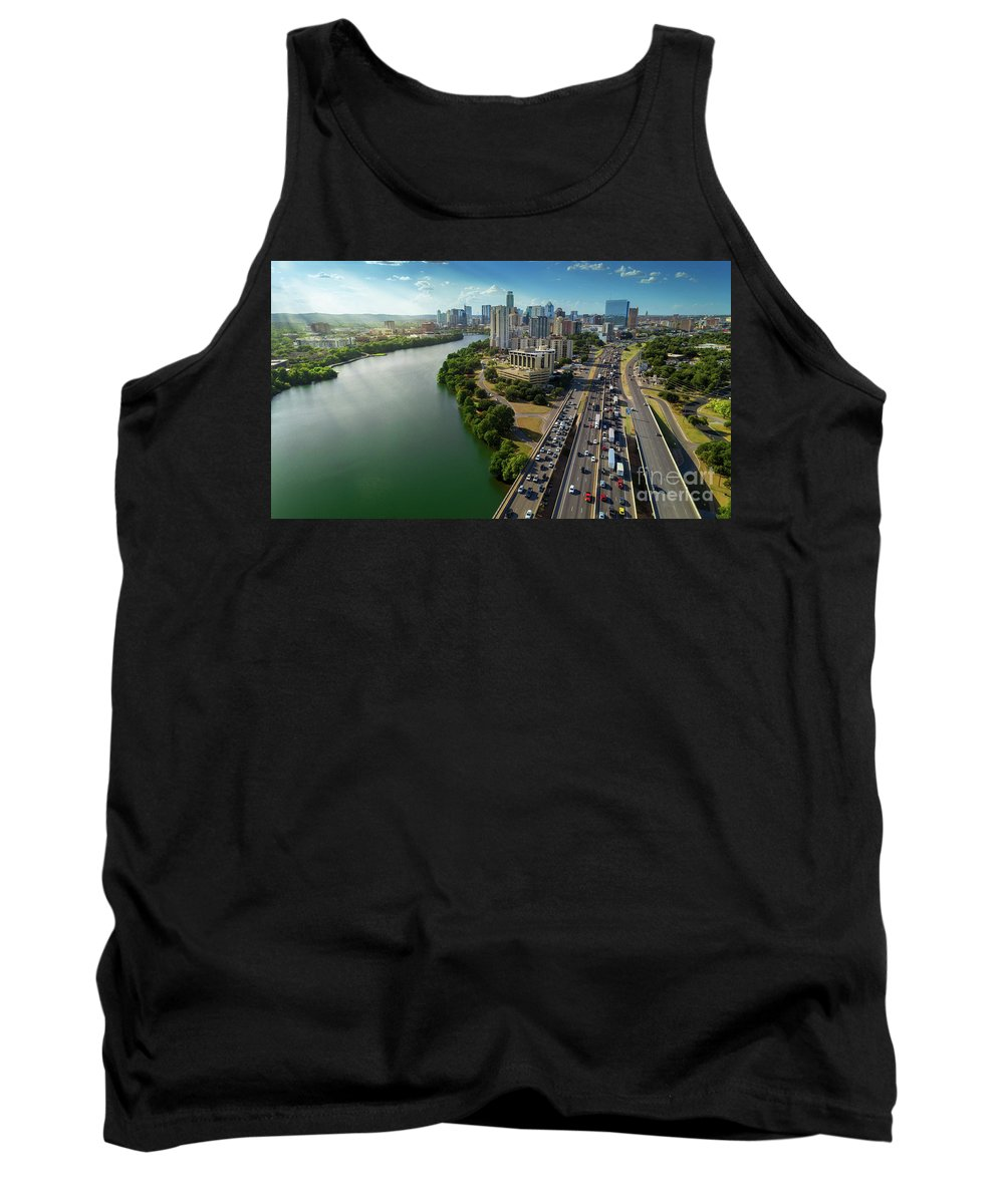 Sunray Tank Top featuring the photograph Sunrays Paint The Austin Skyline As Rush Hour Traffic Picks Up On I-35 by Austin Bat Tours