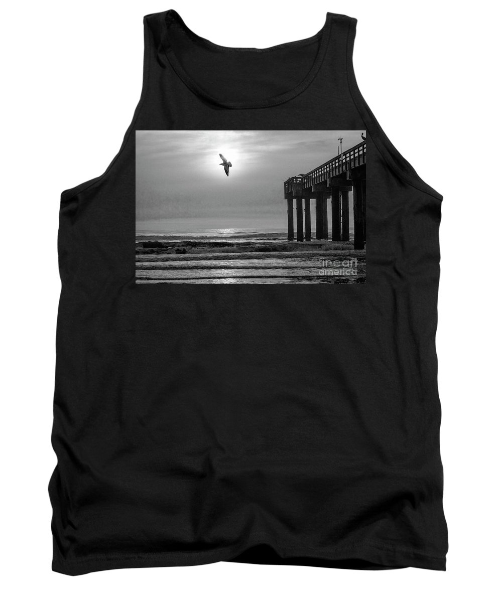 B&w Photography Tank Top featuring the photograph Sunrise At Saint Augustine Pier by C W Hooper