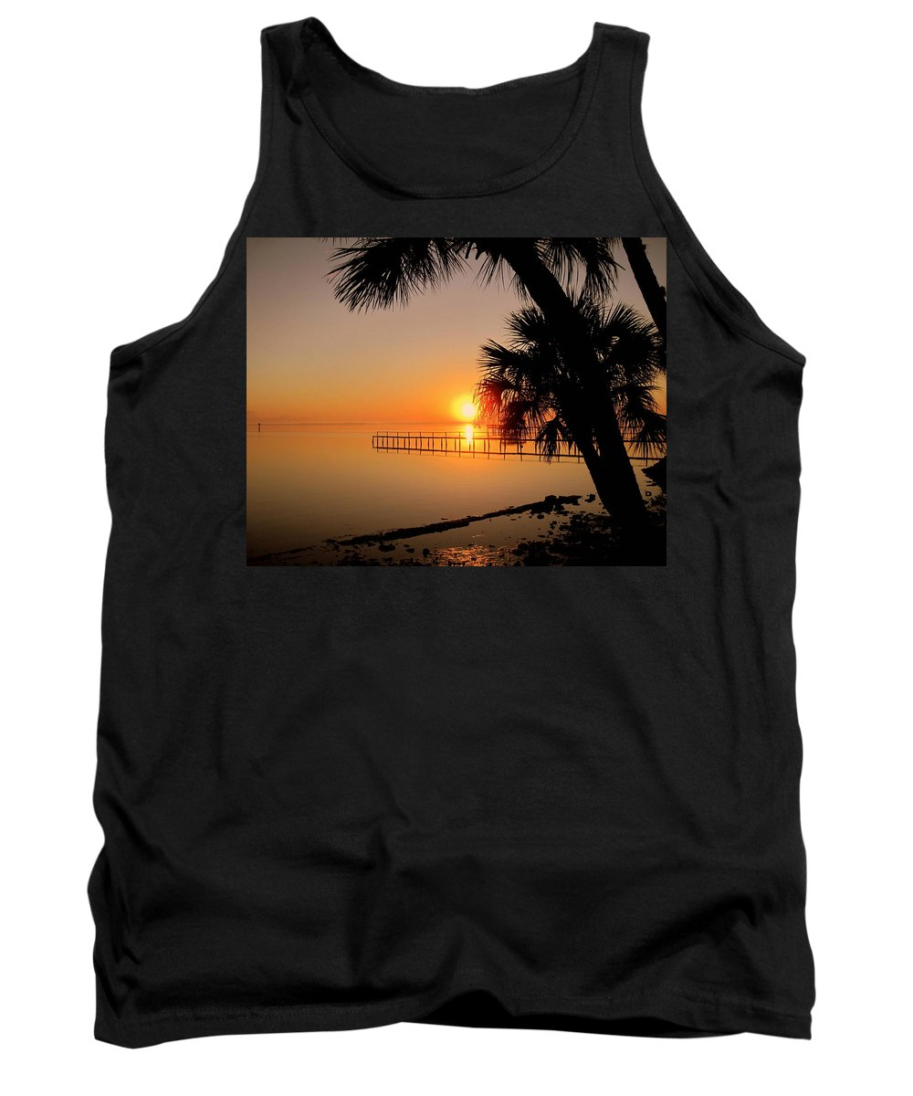 Sunrise Tank Top featuring the photograph Sunrise At The Pier by Susanne Van Hulst