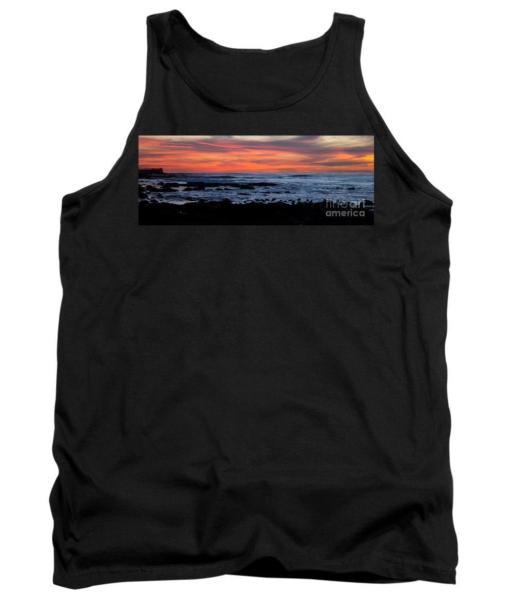 Sunset Tank Top featuring the photograph Sunset And Rocks by Samantha Glaze