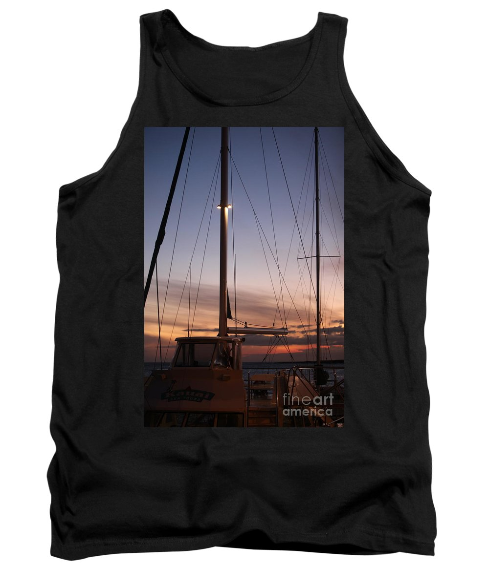 Sunset Tank Top featuring the photograph Sunset And Sailboat by Nadine Rippelmeyer
